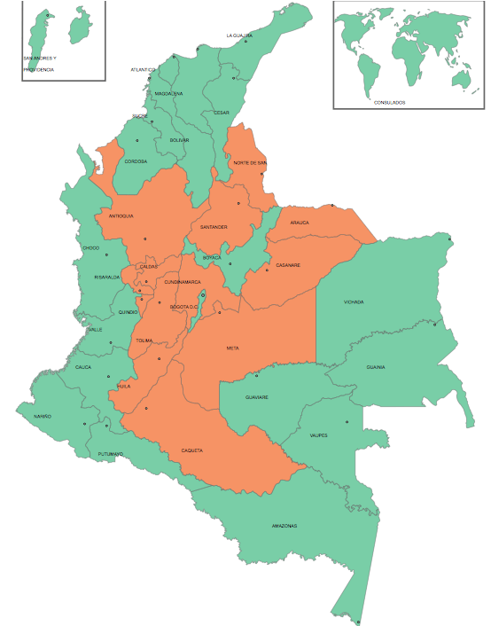 Green: departments with a plurality for YES vote. Orange: departments with a plurality for NO vote